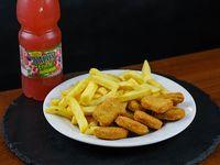 Menú infantil - Nuggets de pollo + papas fritas + agua saborizada-h2on