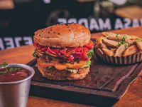 Burger de masa madre + lata marca coca-cola