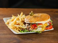Hamburguesa mega Torrente casera completa con papas fritas NUEVO!
