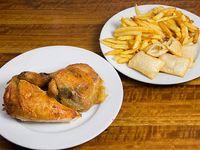 Promo para 2 - 1/2 pollo + papas fritas lider + 4 empanaditas de queso muzzarella + bebida de 1.5 L
