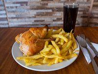 Promo para 1 - 1/4 pollo + papas fritas + bebida en lata