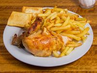 Promo para 1 - 1/4 pollo + papas fritas + 2 empanaditas de queso mozzarella + bebida en lata