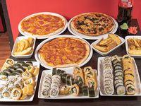 Combo 18 - 90 piezas de sushi a elección + 3 pizzas 32 cm a elección + 3 raciones de papas fritas + 2 bebidas 1.5 L