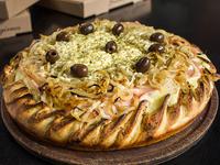 Pizza rellena fugazzeta con jamón