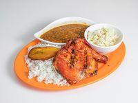 Pollo Asado,con arroz, poroto y ensalada del dia