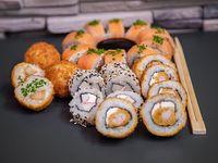 Combo 5 - 20 piezas de sushi + 3 chicken pop + gaseosa línea Coca Cola 350 ml