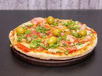 Pizza con verdeo y panceta personal