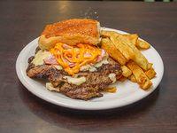 Hamburguesa con cheddar y bacon