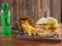 Combo - Hamburguesa veggie criolla + papas fritas + bebida 250 ml