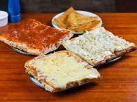 Promo - Porción de muzzarella + porción de fainá + porción de pizza + porción de figazza + refresco línea Coca-Cola 2 L
