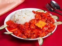 Costillar cantonés con arroz chaufan