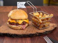 Hamburguesa bbq + fritas