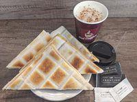 Promo - Café con leche + tostado de miga (4 unidades)