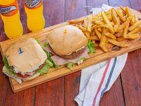 Promo 2x1 -  2 hamburguesas completas + papas fritas + jugo Placer 600 ml