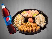 Sushi Familiar Arcoiris + Gaseosa