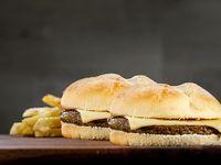 Promo para 2 - Dos hamburguesas (120 g) con queso danbo + papas fritas chicas con cheddar fundido