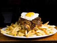 Promo  10 - 1/4 pollo a la pobre (truro) + papas fritas + bebida en lata 350 ml