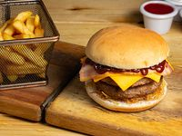 Combo - Hamburguesa bacon + papas fritas  + bebida 350 ml