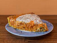 Tarta integral de calabaza, y acelga, queso vegano y semillas (poción)