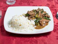 Colación - Carne mongoliana + arroz chaufán o papas fritas