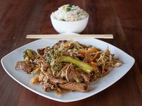 Colación - Chapsui de carne + arroz chaufán o papas fritas