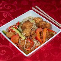 Low mein de pollo furay