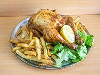 Pollo al spiedo con papas fritas