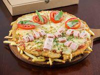 Mega mila pizza con papas fritas y 2 gustos