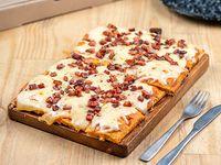 Porción de pizza de muzzarella con un gusto