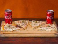 Promo mediodía - 4 porciones de mozzarella + 2 Coca cola 237 cc.