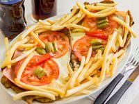 Milanesa napolitana con papas fritas para dos personas