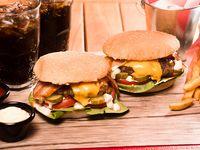 Promo 2 Personas - 2 Smoky Cheese Burguer Simples + French Fries  pequeñas + 2 bebidas en lata