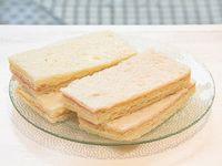Sándwiches triples surtidos livianos de jamón cocido y queso crema (4 unidades)