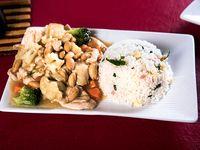 Pollo chiten con arroz chaufan