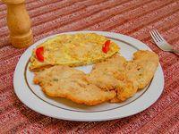 Milanesa de pollo con Porcion de tortilla