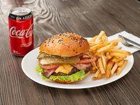 Promo hamburguesa tradicional m con papas fritas bebida en lata 330 cc