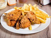 Combo 1 - 2 presas de pollo + ensalada personal + papas fritas + bebida express 250 ml