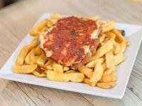 Mila napolitana + fritas papas  fritas
