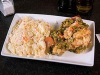 Pollo al jugo con arroz