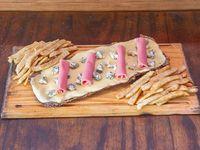 Milanesa al roquefort y jamón con papas fritas (para 2 personas)
