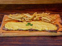 Milanesa a la mostaza con papas fritas (para 2 personas)