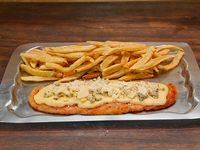 Suprema cuatro quesos con papas fritas (para 2 personas)