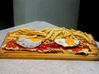 Milanesa rioja con papas fritas (para 2 personas)