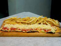 Milanesa parmesana con papas fritas (para 2 personas)