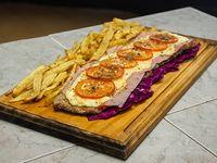 Milanesa napolitana con jamón con papas fritas (para 2 personas)