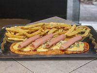 Suprema al roquefort y jamón con papas fritas (para 2 personas)
