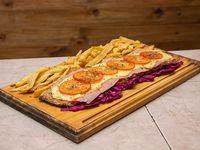 Milanesa napolitana con jamón y papas fritas (para 2 personas)