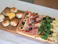 Promo Maestros - 2 pizzas con muzzarella de 12 porciones (12 pancitos brioche y 2 cheddar) + 2 gaseosas de 1.5 L