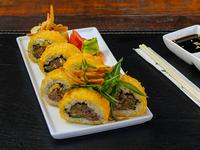 Sushi premium del chef con mechada y panko envuelto en panko