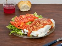 Canelones de carne o verdura con ensalada + pan + gelatina